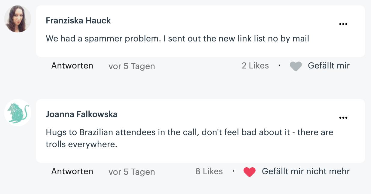 Meetup comment