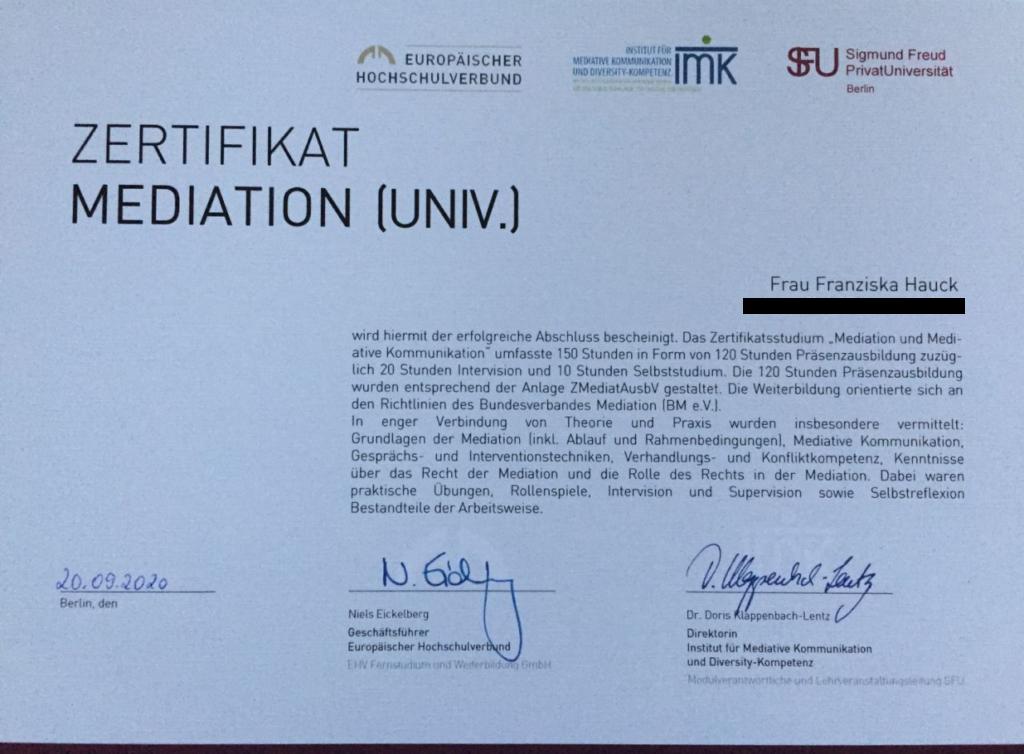 Certificate Mediation Franziska Hauck